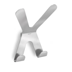 Blomus - VASCO Double Wall Hook - A flawless design by Floz for Blomus, the VASCO Double Wall Hook keeps your hats and coats looking dapper just by hanging them on your wall. The x-shaped stainless steel hook is as sturdy as is sophisticated. Mounting kit included.