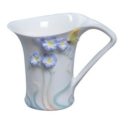 US - 4.75 Inch Glazed Porcelain Blue Freesia Yellow Butterfly Creamer - This gorgeous 4.75 Inch Glazed Porcelain Blue Freesia Yellow Butterfly Creamer has the finest details and highest quality you will find anywhere! 4.75 Inch Glazed Porcelain Blue Freesia Yellow Butterfly Creamer is truly remarkable.