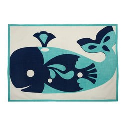 Whale Tea Towel - This 100% cotton tea towel features finished edges and a hand screened whale design in aqua. The over-sized proportion is great for a variety of kitchen uses, including incorporating them into table-scape designs or using them as colorful place mats.