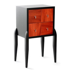"""Furniture by MILAN HEGER - This piece called the """"Vanda Chest"""" has several interesting features: sculpted legs, and combination of wood veneers."""