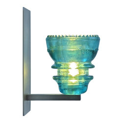LED Insulator Light Sconce 1 - green 42 - insulator light sconce by Railroadware,  made in USA