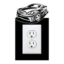 StickONmania - Outlet Sports Car #4 Sticker - a vinyl decal sticker to decorate a wall outlet.  Decorate your home with original vinyl decals made to order in our shop located in the USA. We only use the best equipment and materials to guarantee the everlasting quality of each vinyl sticker. Our original wall art design stickers are easy to apply on most flat surfaces, including slightly textured walls, windows, mirrors, or any smooth surface. Some wall decals may come in multiple pieces due to the size of the design, different sizes of most of our vinyl stickers are available, please message us for a quote. Interior wall decor stickers come with a MATTE finish that is easier to remove from painted surfaces but Exterior stickers for cars,  bathrooms and refrigerators come with a stickier GLOSSY finish that can also be used for exterior purposes. We DO NOT recommend using glossy finish stickers on walls. All of our Vinyl wall decals are removable but not re-positionable, simply peel and stick, no glue or chemicals needed. Our decals always come with instructions and if you order from Houzz we will always add a small thank you gift.