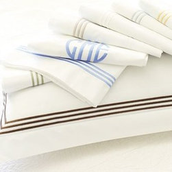 Grand Embroidered Extra Pillowcases, Set of 2, King, Lapis Blue - Our crisp white linens lend perfectly tailored style with a triple border of contrast embroidery. Pure cotton percale. 280-thread count. Edged with a triple row of satin-stitched embroidery. Set includes flat sheet, fitted sheet and two pillowcases (one with twin). Monogramming is available at an additional charge. Monogram will be centered along the border of the pillowcase and the flat sheet. Machine wash. Catalog / Internet only. Imported.