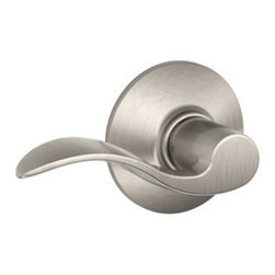 "Schlage Lock - Accent Passage Lever Stn Nickl - For residential single and multi-family hall/closet doors. Both knobs always unlocked. Zinc based and plated, solid lever designing. 3 piece assembly. Triple Option Universal fits all doors; 2-3/4"" or 2-3/8"" backset; square corner, round corner, or drive-  in preps. All latchsets have the same finish for both interior and exterior parts.      BOXED - PRO - UNIVERSALLY HANDED  Dual Option Universal Springlatch  Finish=Satin Nickel"