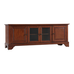 """Crosley - LaFayette 60"""" Low Profile TV Stand in Classic Cherry Finish - Enhance your living space with Crosley's impeccably-crafted low profile TV stand. This signature cabinet accommodates most 60"""" flat panel TVs, and is handsomely proportioned featuring character-rich details sure to impress. The hand rubbed, multi-step finish with Metal hardware is perfect for blending with the family of furniture that is already part of your home. Raised panel doors strategically conceal stacks of CD/DVDs, and various media paraphernalia. Tempered beveled glass doors not only add a touch of class; they protect those valued electronic components, while allowing for complete use of remote controls. Adjustable shelving offers an abundance of versatility to effortlessly organize by design, while cord management tames the unsightly mess of tangled wires. Style, function, and quality make this cabinet a wise choice for your home furnishings needs."""