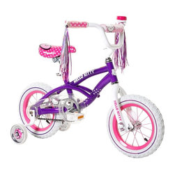 Hello Kitty - Hello Kitty 12 in. Girls Bike Pedal Riding Toy Multicolor - 800762 - Shop for Tricycles and Riding Toys from Hayneedle.com! With colorful streamers the Hello Kitty 12 in. Girls Bike Pedal Riding Toy is sure to please! Adjustable training wheels keep up with her growing skill level while custom art on the frame saddle and handlebar pad make for a sweet and endearing look she'll keep coming back to. 12 inch wheels are just right for beginning riders and the frame and fork come with a lifetime warranty. Coaster braking is easy to manage.About DynacraftEveryone at Dynacraft is committed to helping families bike smart and bike together. Based in American Canyon California Dynacraft is well known as an importer of affordable high quality bicycles for every member of the family. Dynacraft constantly keeps its eyes on both the future and our customers' ever changing needs. If it's not the latest in innovation and designed to the most exacting standards using top-of-the-line parts it's not Dynacraft.