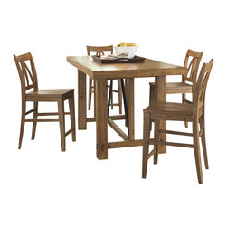 Riverside Furniture - Riverside Furniture Summerhill 6 Piece Dining Table Set in Rustic Pine - Riverside Furniture - Dining Sets - 9165491655Kit6PcDiningSet