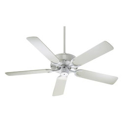 Quorum International - Allure White Energy Star 52-Inch Patio Fan - -Amps: .53/.37/.21  -Fan Watts: 65/33/12  -RPM: 160/110/60  -Motor Size: 153x16  -Motor Poles: 14  -Motor Warranty: Limited Lifetime  -Motor Lead Wire: 80  -Motor Switch Type: Hi/Med/Low/Off  -Motor Reverse Type: Slide  -Five White Blades  -Blade Sweep: 52  -Arm Pitch: 14  -Down Rods Included: 4 and 6  -Ceiling to Lower Edge of Blade: 11.61  -Fan Housing Width: 11.73  -Optional remote control available.  See companioned items to order. Quorum International - 136525-6