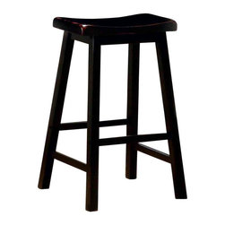 Adarn Inc - Transitional Wooden Black Finish  Bar Stool, Black - With casual and simple designs, this bar stool will make a great addition to a relaxed environment in your home. The wooden composition consists of shapely scooped seating, straight wood legs and a sleek black finish. Whether you need extra seating for guests or want to create a casual dining atmosphere, this bar stool offers a humble style that is sure to mix well with existing decor.