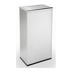 """Commercial Zone - Precision Series Rectangular Trash Can with Swivel Lid - Create a clean and elegant look with the Stainless Rectangular Swivel Lid; perfect near coffee bars, restrooms, offices and waiting rooms. Features: -Swivel door is precisely weighted to flip closed; concealing waste. -Constructed from heavy gauge 304 grade steel; won't easily rust. -Hygienic surface; no pores to harbor dirt or bacteria. -Equipped with rubber base ring; keeps unit in place and protects floors. -Cost effective with long-term performance and low maintenance. -Galvanized liner with handle included for easy trash removal. -Includes 1 year product warranty. -Overall Dimensions: 29"""" H x 15"""" W x 9"""" D."""