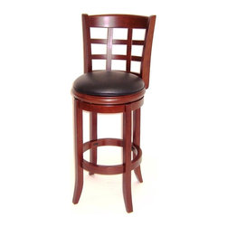 Boraam - Kyoto Hardwood Swivel Cherry Bar Stool w Padd - Handsome dimensions and Asian style are the this counter stool's defining factors. You'll find this Kyoto collection model perfect for mealtime and much more. Round seat is padded & upholstered for extra comfort. Made from fine hardwoods, it's finished with light cherry stain. Tool included. Durable and Easy to clean Black PVC seat. High density fire retardant foam. Wood band under seat cushion. Hidden ball bearing swivel. Flared legs and footrest. Made from Solid hardwood. Assembly required. Maximum Weight Capacity: 250 LBS. Not suitable for commercial use. Seat Diameter: 17 in.. Dimension: 18 in. W x 22 in. D x 43.5 in. H (30 lbs.). Seat Height: 30 In.