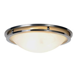 Premier - One Light 17 inch Flush Mount - Brushed Nickel - This flush mount ceiling fixture blends well with any room's decor. It features a beautiful brushed nickel finish with alabaster glass.
