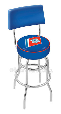 """Holland Bar Stool - Holland Bar Stool L7C4 - Chrome Double Ring U.S. Coast Guard Swivel Bar Stool - L7C4 - Chrome Double Ring U.S. Coast Guard Swivel Bar Stool w/ Back belongs to Military Collection by Holland Bar Stool Made for the ultimate sports fan, impress your buddies with this knockout from Holland Bar Stool. This retro L7C4 logo stool has a 4"""" cushion with a tough double-ring base with a chrome finish and a cushioned back to achieve maximum comfort and support. Holland Bar Stool uses a detailed screen print process that applies specially formulated epoxy-vinyl ink in numerous stages to produce a sharp, crisp, clear image of your team's emblem. You can't find a higher quality logo stool on the market. The structure is triple chrome-plated to ensure a rich, polished finish that will last ages. Barstool (1)"""