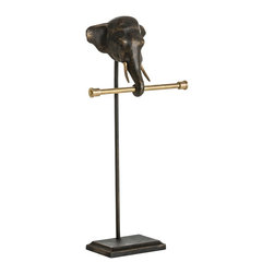 Arteriors - Eli Towel Holder - Perk up your powder room with this appealing pachyderm. The free-standing iron and brass towel holder is a unique piece sure to bring a smile.