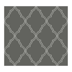 Candice Olson Dimensional Surfaces Moroccan Lattice Sand Wallpaper, Charcoal - The cool gray base of this Moroccan lattice wallpaper would work well in a washroom. I did a similar color scheme in my downstairs powder room, and it plays very well with white, black and silver finishes.