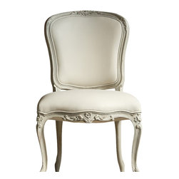 Eloquence Inc - Colette Dining Chair in Chalk Grey - This is a very sophisticated dining chair.  Eloquence Colette Dining Chair. Gorgeous and feminine Louis XV shape with fine floral carvings and delicate legs. Shown in Chalk Grey finish with Frost White Leather upholstery.