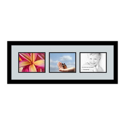 ArtToFrames - ArtToFrames Collage Photo Frame  with 3 - 6x8 Openings - This classic Satin Black, 1.25 inch thick collage frame, comes equipped with a setup for 3 - 6x8 masterpieces of your choice. This collage is part of a selection collage frame selection and boasts an ample line of durable frames at a affordable price tag you can smile about! Built from hand and created to showcase your masterpieces making sure you 3 - 6x8 art will fit right in. Bordered in a vivid prominent Satin Black, smooth frame and joined by a clean Baby Blue mat, the collage arrangement most definitely highlights your original prized artwork, and the greatest memories in an entirely incredible and fresh way. This collage frame comes protected in Styrene, ready with appropriate hardware and can be presented within a few seconds. These premium quality and rustic wood-based collage frames change in design and size specifics; all in contemporary and modern design. Mats are available in a assemblage of color tones, spaces, and shapes. It's time to tell your story! Preserving your holding onto your memories in an original and imaginative fresh way has never been easier.