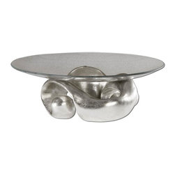 Uttermost - Entwined Silver Leaf & Glass Bowl - Lightly champagned silver leaf with clear glass bowl