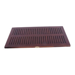 """DecoTeak - 31 in. x 18 in. Teak Spa Shower and Floor Mat - Made from plantation grown sustainably harvested solid teak that is naturally water, and mildew resistant.. Slip resistant rubber tracks underneath. slats for ease of water drainage. Provides attractive bathroom, shower, or outdoor accent. Attractive spa design coordinates with other spa family teak bathroom products.. No assembly required. 31 day satisfaction guarantee.  provides comfortable surface for standingUse in the shower, bathroom, or outdoors. Stain:  Deco Teak deep penetrating indoor outdoor golden brown. No Assembly Required. Size:  31"""" Length x 17.5"""" Width x 1"""" Height. Product Weight: 8 lbs."""