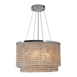 """Worldwide Lighting - Prism 8-Light Chrome Finish Crystal String 20"""" Oval Chandelier - This stunning 8-light Crystal Chandelier only uses the best quality material and workmanship ensuring a beautiful heirloom quality piece. Featuring a radiant chrome finish and finely cut premium grade clear crystals with a lead content of 30%, this elegant chandelier will give any room sparkle and glamour. Worldwide Lighting Corporation is a privately owned manufacturer of high quality crystal chandeliers, pendants, surface mounts, sconces and custom decorative lighting products for the residential, hospitality and commercial building markets. Our high quality crystals meet all standards of perfection, possessing lead oxide of 30% that is above industry standards and can be seen in prestigious homes, hotels, restaurants, casinos, and churches across the country. Our mission is to enhance your lighting needs with exceptional quality fixtures at a reasonable price."""
