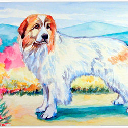 Caroline's Treasures - Great Pyrenees Kitchen or Bath Mat 24x36 - Kitchen or Bath COMFORT FLOOR MAT This mat is 24 inch by 36 inch.  Comfort Mat / Carpet / Rug that is Made and Printed in the USA. A foam cushion is attached to the bottom of the mat for comfort when standing. The mat has been permenantly dyed for moderate traffic. Durable and fade resistant. The back of the mat is rubber backed to keep the mat from slipping on a smooth floor. Use pressure and water from garden hose or power washer to clean the mat.  Vacuuming only with the hard wood floor setting, as to not pull up the knap of the felt.   Avoid soap or cleaner that produces suds when cleaning.  It will be difficult to get the suds out of the mat.