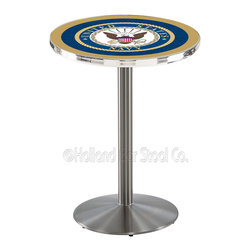 Holland Bar Stool - Holland Bar Stool L214 - Stainless Steel U.S. Navy Pub Table - L214 - Stainless Steel U.S. Navy Pub Table  belongs to Military Collection by Holland Bar Stool Made for the ultimate sports fan, impress your buddies with this knockout from Holland Bar Stool. This L214 U.S. Navy table with round base provides a commercial quality piece to for your Man Cave. You can't find a higher quality logo table on the market. The plating grade steel used to build the frame ensures it will withstand the abuse of the rowdiest of friends for years to come. The structure is 304 Stainless to ensure a rich, sleek, long lasting finish. If you're finishing your bar or game room, do it right with a table from Holland Bar Stool.  Pub Table (1)