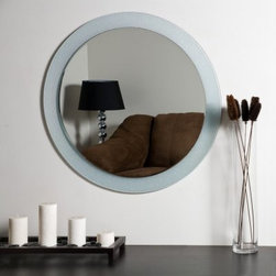 Zoe Modern Frameless Bathroom Mirror - 27.6 diam. in. - This classic ornate oval shaped Zoe Modern Frameless Bathroom Mirror will add style to your bathroom. This mirror features a 2 1/2 inch glass border and a bevel is present on the mirror as well. It's crafted with two layers of thick 3/16 glass and metal. All necessary mounting hardware is included with your purchase.