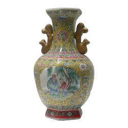 "Golden Lotus - Chinese Yellow Base Hexagon Canton Famille Porcelain Vase - Dimensions:   Dia 9"" x h15.5"""