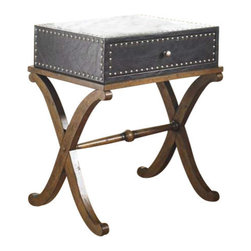 Uttermost Lok Accent Table - Single drawer, trunk style table in black faux leather with silver accent nails and curved, hardwood leg base in antique walnut finish. Single drawer, trunk style table in black faux leather with silver accent nails and curved hardwood leg base in antique walnut finish.