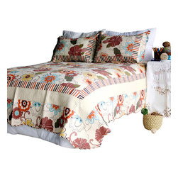 Blancho Bedding - Shaine 100% Cotton 3PC Vermicelli-Quilted Patchwork Quilt Set  Full/Queen - Set includes a quilt and two quilted shams (one in twin set). Shell and fill are 100% cotton. For convenience, all bedding components are machine washable on cold in the gentle cycle and can be dried on low heat and will last you years. Intricate vermicelli quilting provides a rich surface texture. This vermicelli-quilted quilt set will refresh your bedroom decor instantly, create a cozy and inviting atmosphere and is sure to transform the look of your bedroom or guest room.