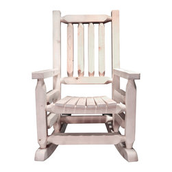 """Montana Woodworks - Homestead Rustic Rocker, Child's, Ready To Finish - From Montana Woodworks, the largest manufacturer of handcrafted, heirloom quality rustic furnishings in America comes the Homestead Collection line of furniture products. Handcrafted in the mountains of Montana using solid, American grown wood, the artisans rough saw all the timbers and accessory trim pieces for a look uniquely reminiscent of the timber-framed homes once found on the American frontier. This smaller, child's-sized version of Montana Woodworks extremely popular rocking chair is just the right size for your children, grandchildren or younger friends and family. Constructed with the same careful attention to detail as our full-sized rocking chair, our artisans employ the superior, mortise and tenon joinery to ensure this little rocker will be in the family for generations to come. Seat height is 12"""" from the floor and distance between the arm rests is 14"""". Comes fully assembled. 20-year limited warranty included at no additional charge.; Hand Crafted in Montana U.S.A.; Solid, U.S. grown genuine lodge pole pine wood; Timbers and Trim Pieces are Sawn Square for Rustic Timber Frame / Barn wood Design Appearance; Heirloom Quality; 20 Year Limited Warranty; Durable Build, Fit and Finish; Each Piece Signed By The Artisan Who Makes It; Solid genuine lodge pole pine; Perfectly Fitted for the Smaller Family Members and Friends; Weight: 18 lbs; Dimensions: 20""""W x 26""""D x 31""""H"""