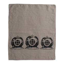Cricket Radio - Montauk Diving Helmet Hand Towel, Stone/Black - Submerge yourself in easy color and handmade style. This hand towel features vintage diving helmets hand-printed on Italian linen. In your choice of colors, it will add a perfect nautical touch in your kitchen or bath — or get several to use as oversize napkins. Go ahead. Take the plunge.