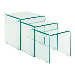 Modway - Cascade Clear Glass Nesting Side and Coffee Table - Suit your space and your style with this transparent trio. The clear glass tables nest together neatly, then simply pull out and arrange as needed when entertaining a crowd.