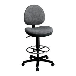 """Office Star - Sculptured Seat & Back Drafting Stools - Ht A - Fabric: Burgundy in Icon PatternConvenience and versatility are what this interesting spin on an office stool is all about.  Featuring a thick padding under durable upholstery, this stool and office chair hybrid boasts a backrest for extra support and comfort.  A footrest spans the entire circumference of this stool, and carpet casters allow for easy mobility.  This drafting stool features easy-access height adjustment from 24"""" to 35"""" plus a sculptured seat and back for comfort in a work or craft environment.  Attractively covered in long-wearing fabric. * Sculptured Seat and Back with Built-in Lumbar Support. Pneumatic Seat Height Adjustment. Back Height Adjustment. Seat Depth Adjustment. Adjustable Foot Rest. Heavy Duty Nylon Base with Dual Wheel Casters. Weight Capacity: 250 lbs.. Seat Size: 20W x 19D x 3T. Back Size: 18W x 16.5H x 2.5T. Overall Max: 52H x 20W x 22.5D"""