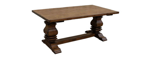 Mortise & Tenon - Anaheim Trestle Reclaimed Wood Dining Table - Get off the tracks. The style train is coming through. This trestle table features shapely pedestals and an antiqued finish that lets the grain of the reclaimed Douglas fir show through. It's just the ticket for your French country or Napa style dining room, or switch it up with more contemporary chairs and a chandelier.