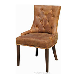 ARTeFAC - R-1071 Antique Brown Accent Leather Dining Chair - R-1071 Antique Brown Accent Leather Dining Chair