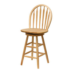 Winsome Wood - Winsome Wood 24 Inch Windsor Swivel Stool - Single in Beech - Display your classic sense of style with the traditional 24 Inch Windsor Bar Stool. This chair features a swivel seat and contoured back for maximum comfort Barstool (1)