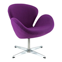 IFN Modern - Swan Inspired Chair-Purple - Cashmere Wool - The Swan Chair was originally created by the Danish designer and architect Arne Jacobsen for the prestigious Amsterdam Royal Hotel. Jacobsen's original design was created in 1958 and his artistic vision is represented in this piece- he was motivated by the movement to adapt more organic forms into contemporary interior design. The Swan Chair simultaneously boasts an element of elegance and comfort. The shape of this chair adds intrigue to a variety of spaces with its light, airy appearance and at the same time it's beautiful shape invites one to feel relaxed.