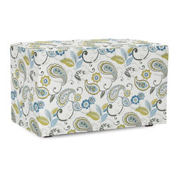 Howard Elliott - Paisley Lagoon Universal Bench - The Universal Bench in Paisley is a great addition to any room. A traditional pattern in an updated color story. Their simple design makes them great to use as side tables, ottomans, alternate seating and more.