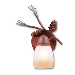 Avalanche-Ranch - Pine Cone Art: Lakeside Single Sconce - Rustic Wall Lights - Indoor + Outdoor with Pine Cone artwork - Takes (1) 60W Medium bulb(s)