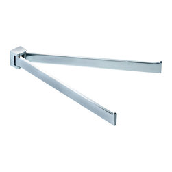 Gedy - 12 Inch Polished Chrome Double Swivel Towel Bar - Modern double swivel towel holder made of chromed brass.