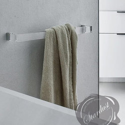 """Modern Bahtroom Accessories: Transparent Towel Bar Holder """"Kartell Rail"""" - The classic towel bar gets a sophisticated updated with a transparent acrylic rail.  Kartell Rail by Laufen Design, a modern towel bar with transparent rod.  Available in three sizes and five transparent colors.  Prices start at $99.00.  Kartell Rail available from: http://www.stardust.com/kartellrail.html"""