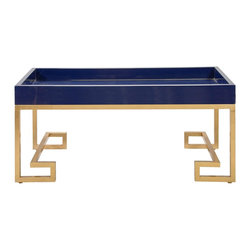 Worlds Away - Worlds Away Conrad Navy Lacquer Tray w/ Gold Leafed Base - With gold leafed Greek key base