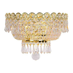 "Worldwide Lighting - Empire 2 Light Gold Finish Crystal 12"" W Wall Sconce Light Medium - This stunning 2-light wall sconce only uses the best quality material and workmanship ensuring a beautiful heirloom quality piece. Featuring a radiant gold finish and finely cut premium grade crystals with a lead content of 30%, this elegant wall sconce will give any room sparkle and glamour. Worldwide Lighting Corporation is a premier designer manufacturer and direct importer of fine quality chandeliers, surface mounts, and sconces for your home at a reasonable price. You will find unmatched quality and artistry in every luminaire we manufacture."