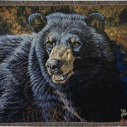 Manual - Black Bear in Forest Print Tapestry Throw Blanket 50 Inch x 60 Inch - This multicolored woven tapestry throw blanket is a wonderful addition to your home or cabin. Made of cotton, the blanket measures 50 inches wide, 60 inches long, and has approximately 1 1/2 inches of fringe around the border. The blanket features a close-up print of a black bear in the forest. Care instructions are to machine wash in cold water on a delicate cycle, tumble dry on low heat, wash with dark colors separately, and do not bleach. This comfy blanket makes a great housewarming gift that is sure to be loved.