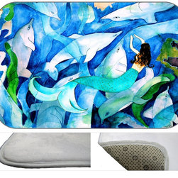 Mermaid Dolphin Party Plush Bath Mat, 30X20 - Bath mats from my original art and designs. Super soft plush fabric with a non skid backing. Eco friendly water base dyes that will not fade or alter the texture of the fabric. Washable 100 % polyester and mold resistant. Great for the bath room or anywhere in the home. At 1/2 inch thick our mats are softer and more plush than the typical comfort mats.Your toes will love you.