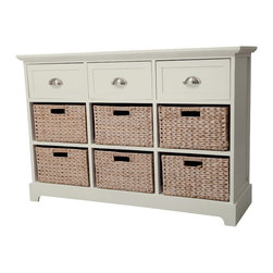 None - Gallerie Decor Newport 3-drawer 6-basket Table - The Newport 9-drawer chest is hand-crafted with sturdy wood in a beautiful espresso or cream finish. The look is clean,rich and transitional.