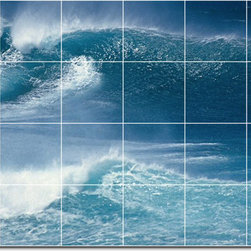 Picture-Tiles, LLC - Waves Photo Shower Tile Mural 1 - * MURAL SIZE: 32x48 inch tile mural using (24) 8x8 ceramic tiles-satin finish.