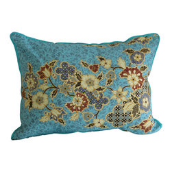Garden Candy - Blue Cotton Pillow - Garden Candy's reversible Sarong Patterned Pillow adds that extra bit of comfort to any indoor or outdoor chair. It is a must have companion to our Sarong Patterned Seat Cushions.
