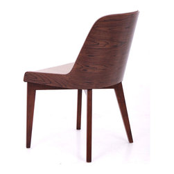 Hudson Plywood/ Wood Base by Nuans Design - Immediately obvious from this point of view is the stunning pattern in the wood on the back of the stylish Hudson Chair. On the inside of this curved back you'll find soft Eco-leather upholstery. That wood and upholstery is a particularly appealing combination.